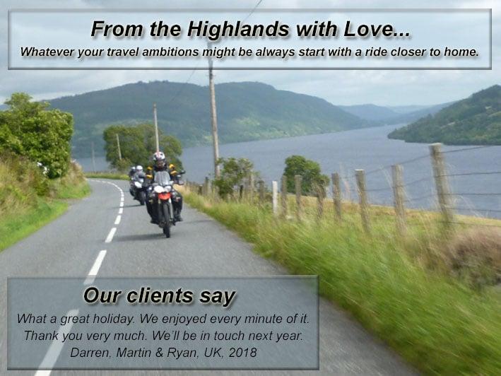 Scottish Highlands motorcycle tour 2020